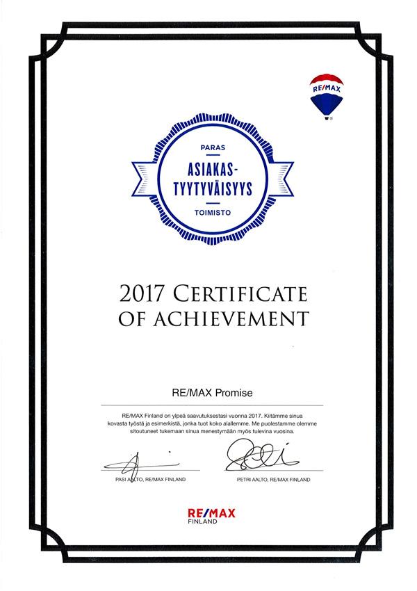 REMAX paras asiakastyytyväisyys toimisto 2017